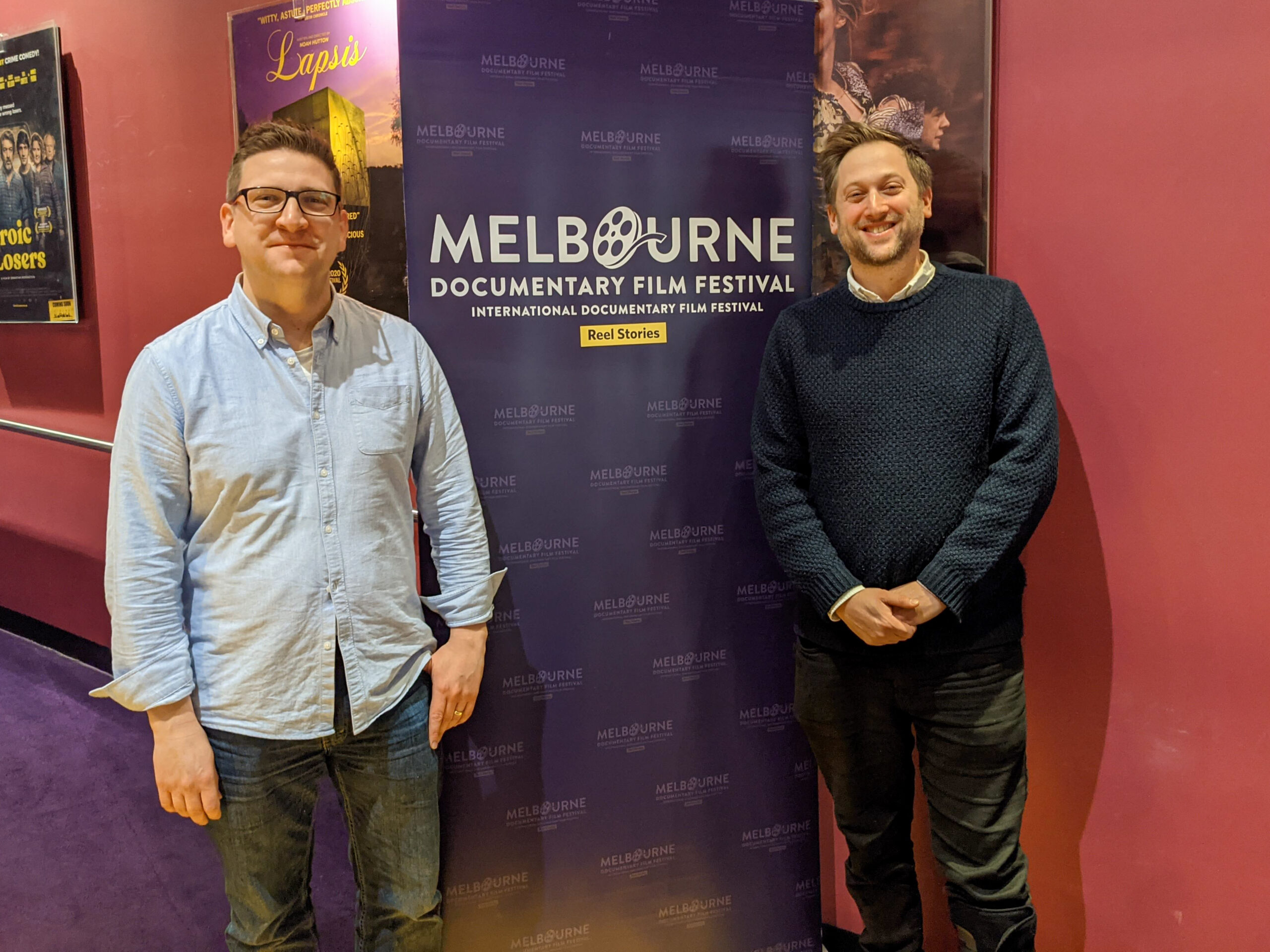 Directors Liam burke and Mark Hellinger at the Melbourne Documentary Film festival screening Superheroes and Me